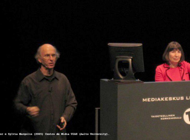 Victor e Sylvia Margolin em palestra na Universidade de Arte e Design de Helsinque - Finlândia.